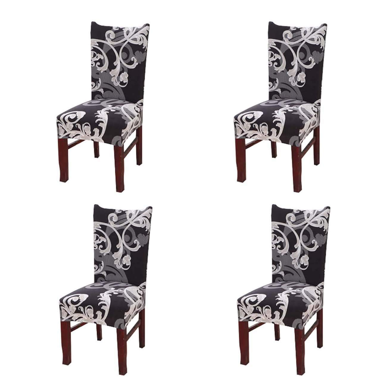 Treely Stretch Removable Washable Floral Print Short Dining Chair Protector Cover Slipcover for Dining Room Home Party Banquet (4 Per Set,#15)