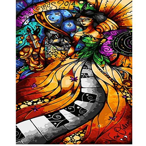 ADVLOOK Cuadro Pintura Al Óleo por Números Decoración De Pared Pintura Bricolaje sobre Lienzo para Decoración del Hogar Músico Frameless 40X50Cm