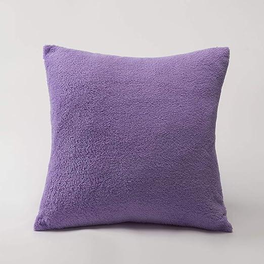 CSJY Shu algodón Terciopelo Color sólido Funda de Almohada ...
