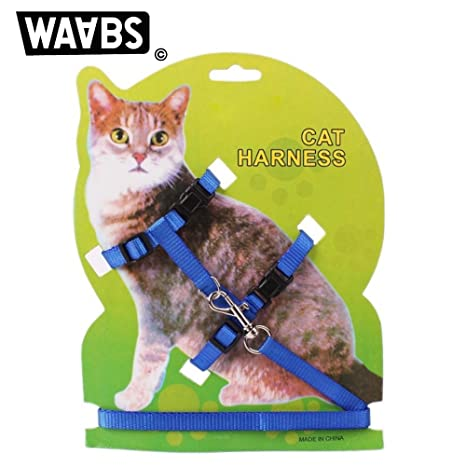 Waabs Arnés para gato con collar ajustable de nailon y correa