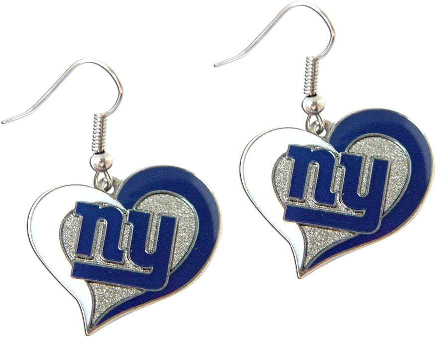 "aminco NFL Logo 3/4"" Swirl Heart Dangle Earring Set"