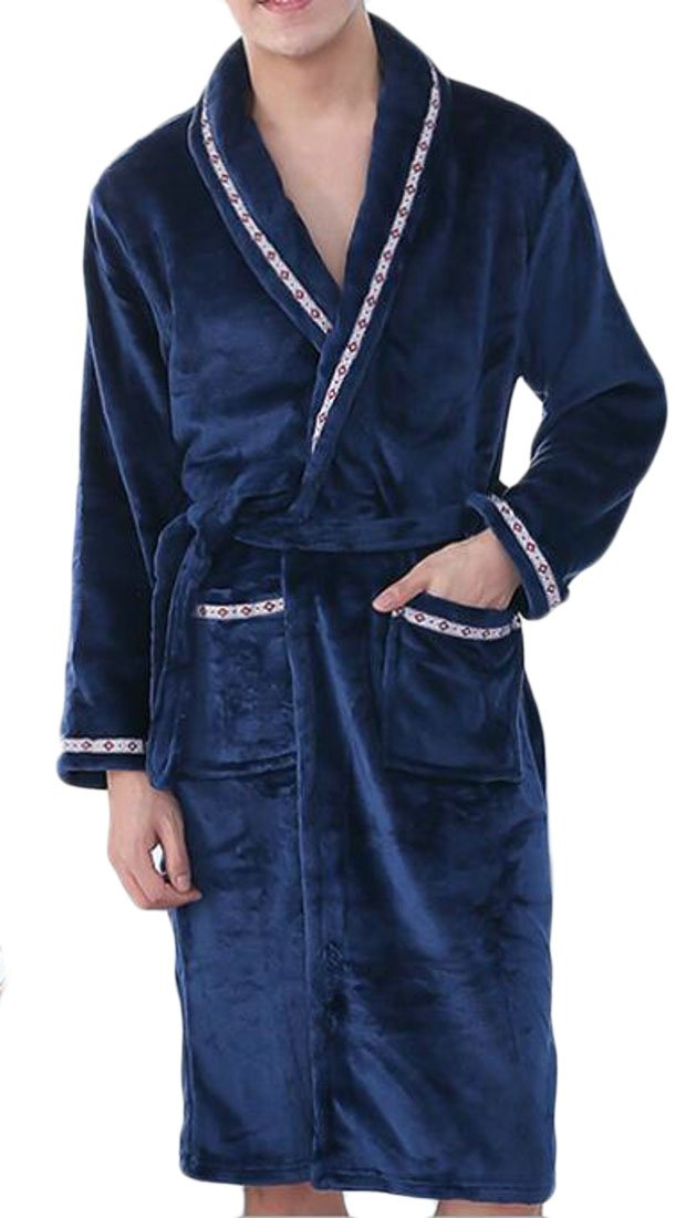 Macondoo Men's Flannel Plush Pockets Shawl Collar Belt Bathrobe Robes Navy Blue XL