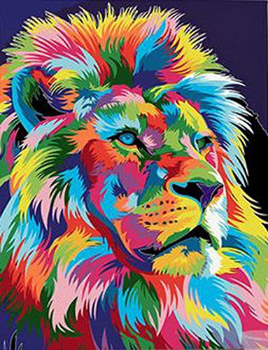 MailingArt Paint By Number Kits Canvas Painting - Colorful Life (Lion)