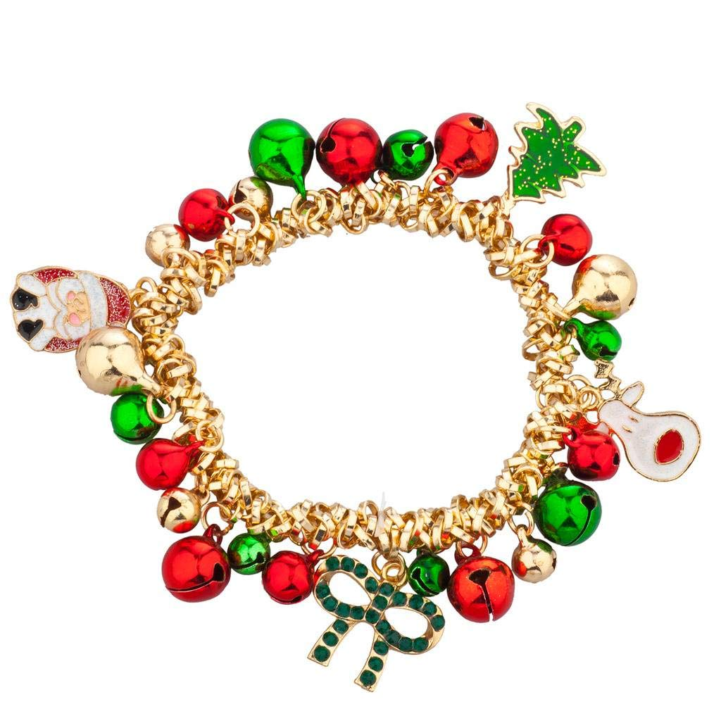 Lux Accessories Christmas X-Mas Holiday Jingle Bells Charm Bracelet B228351-1-B775
