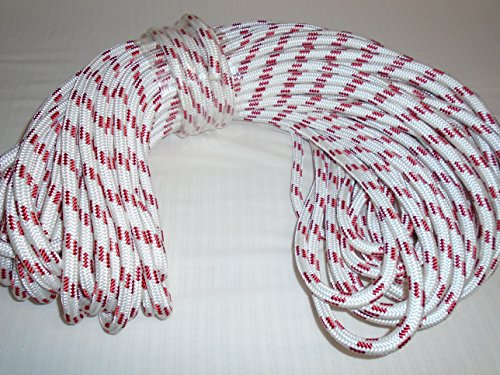 1/2'' By 200' Double Braid Polyester Rope White and Red by Blue Ox Rope (Image #1)