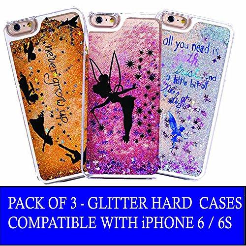 Pack Of 3 - iPhone 6 / 6s Compatible, Glitter Pixie Dust Faith Fairy Tale Angel Series Dynamic Hard Case Bumper for Apple Clear Cover - Blue Fairy Faith + Black Fairy Faith + Never Grow Up -