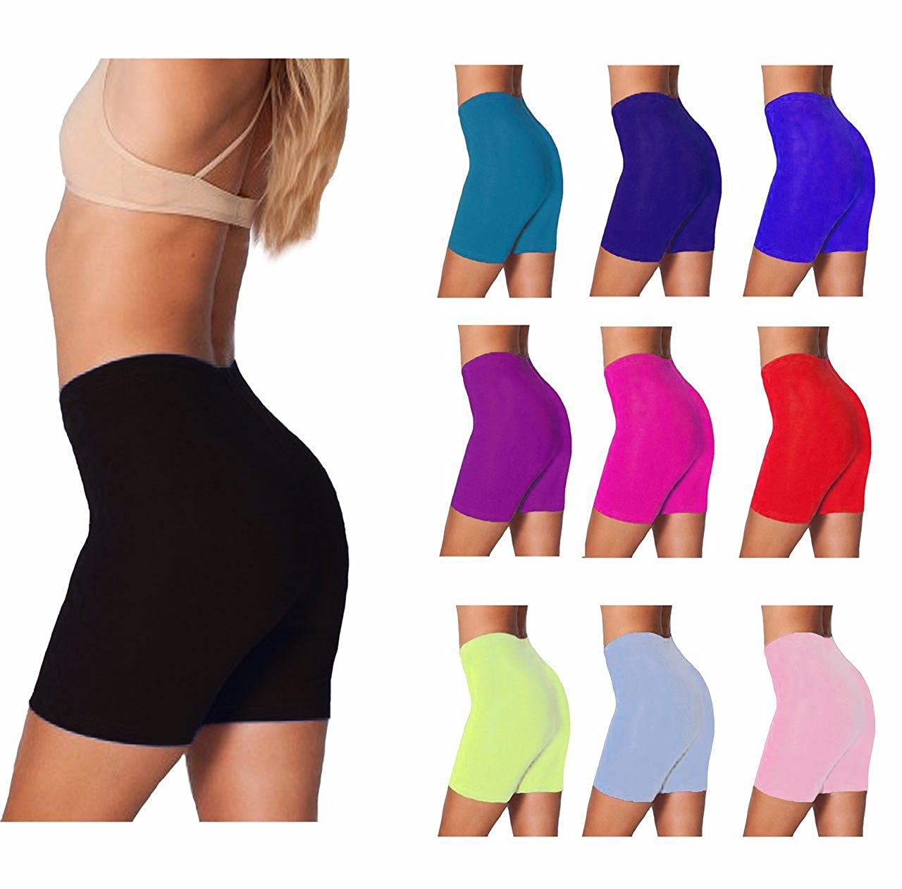 Womens Lycra Cotton Cycling Shorts Gym Shorts Above Knee Length Yoga Pants Running Leggings S-XXL