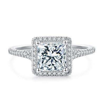 182275544ca40 Hafeez Center 6.5mm 1.5 Carat Princess Cut Simulated Diamond Cubic Zirconia  Halo Engagement Rings for Women