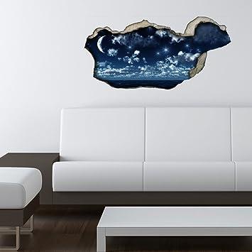 Neu 3d Wandsticker 3d Optik Nachthimmel Wanddeko 3d Wandtattoo 3d