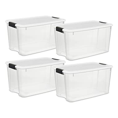 STERILITE 70 Quart/66 Liter Ultra Latch Box, Clear with a White Lid and Black Latches, 4 Pack