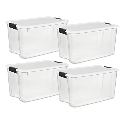 Sterilite 19889804 70 Quart/66 Liter Ultra Latch Box, Clear With A White Lid