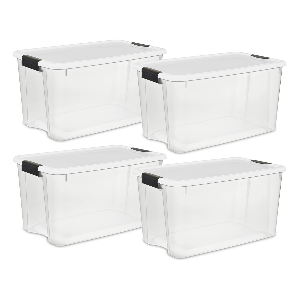 Sterilite 19889804 70 Quart/66 Liter Ultra Latch Box, Clear with a White Lid and Black Latches, 4-Pack by STERILITE
