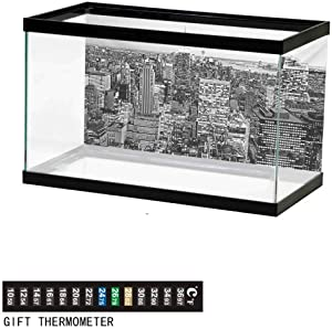 wwwhsl Aquarium Background,Static Cling,New York City Collage Featuring with Different Areas of The Big Manhattan Underwater Poster Fish Tank Wall Decorations Sticker