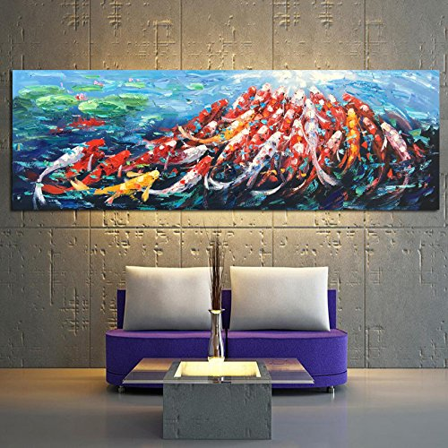 ALENIS Large size Wall Canvas Art Picture Print Abstract Fengshui Koi Fish Lotus Landscape Chinese Painting & Calligraphy Poster
