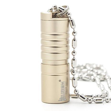 Wuben G342 - Collar de linterna de mano potente, recargable por USB e impermeable, aleación de aluminio, diseño de bala oro