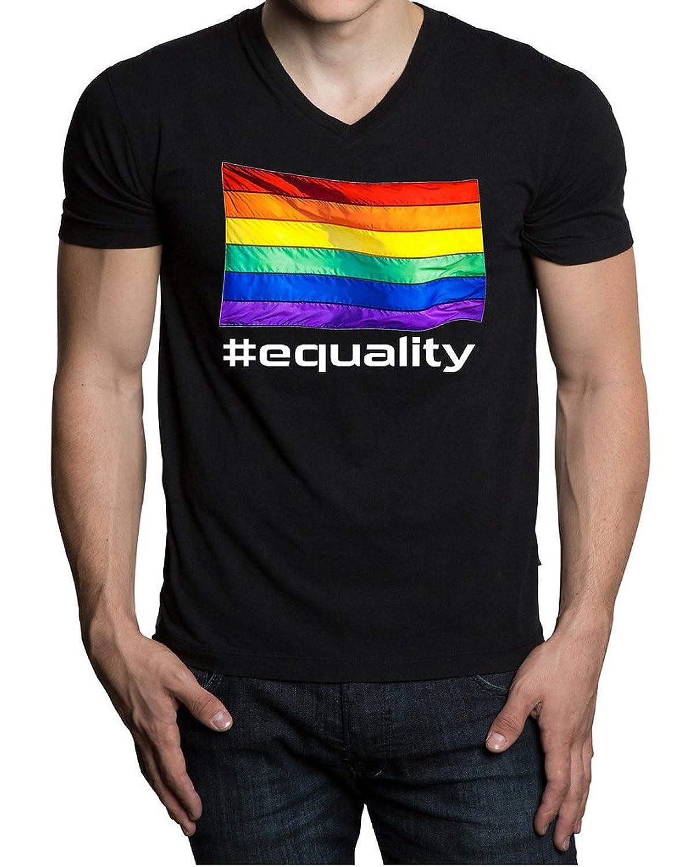 Equality Rainbow Flag Men's Black V-Neck T-Shirt V192 Black