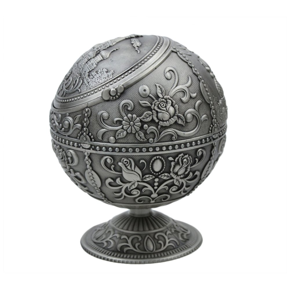 Durable Portable Alloy Round Ball Ashtray,Cigar Ashtray with Lids,Car Ashtray Mini Ashtray Relief Stamped Pattern Gift for Men and Women Outdoor Indoor,Gift for Men and Women