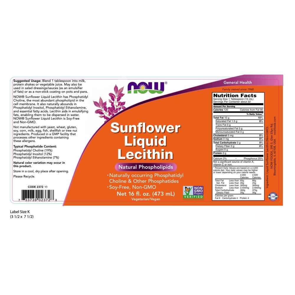 Now Foods, Sunflower Liquid Lecithin, 16 fl oz (473 ml): Amazon.es: Electrónica