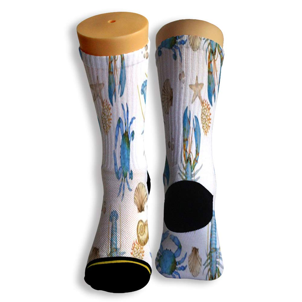 Basketball Soccer Baseball Socks by Potooy Funny Shrimp Design 3D Print Cushion Athletic Crew Socks for Men Women