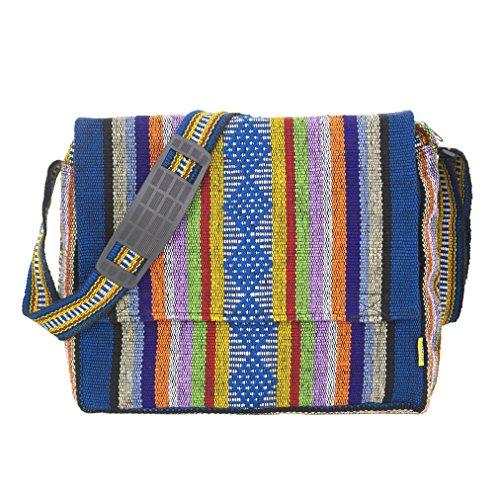 "PINZON Messenger Bag Boys Schoolbag for Girls School Bag Satchel Fair Trade for Men Women Hippie Accessories Cross Body Shoulder Bag Denim 13"" 14"" Laptop Case Canvas Tote Retro Vintage (Multicolor)"