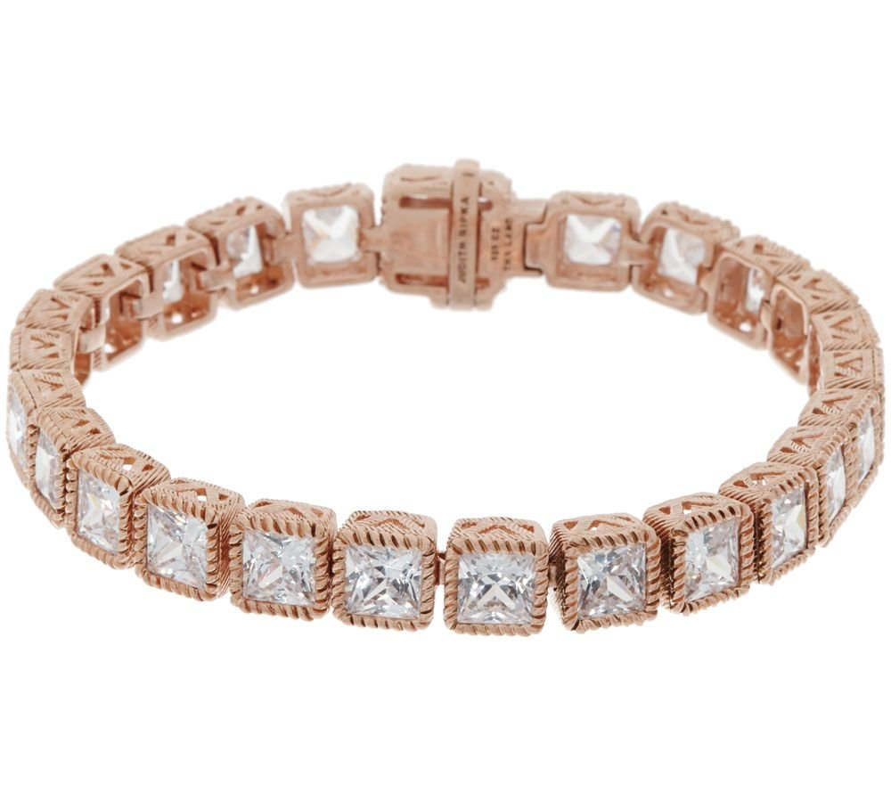 2heart 14K Rose Gold Over Princess Cut D/VVS1 Diamond Rope Border Outline Tennis Bracelet