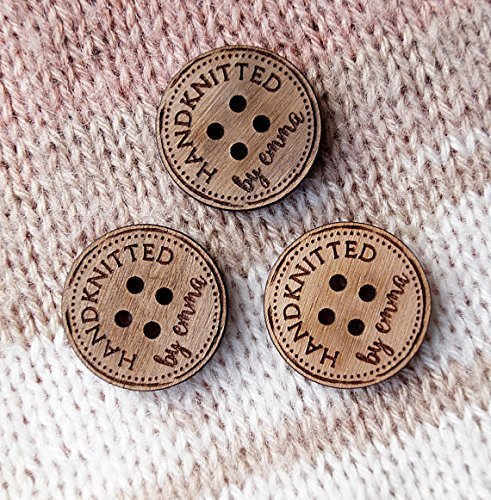 Wooden buttons, custom made wood buttons, engraved buttons with your text or logo, wooden tags for knitted or crochet products, set of 25