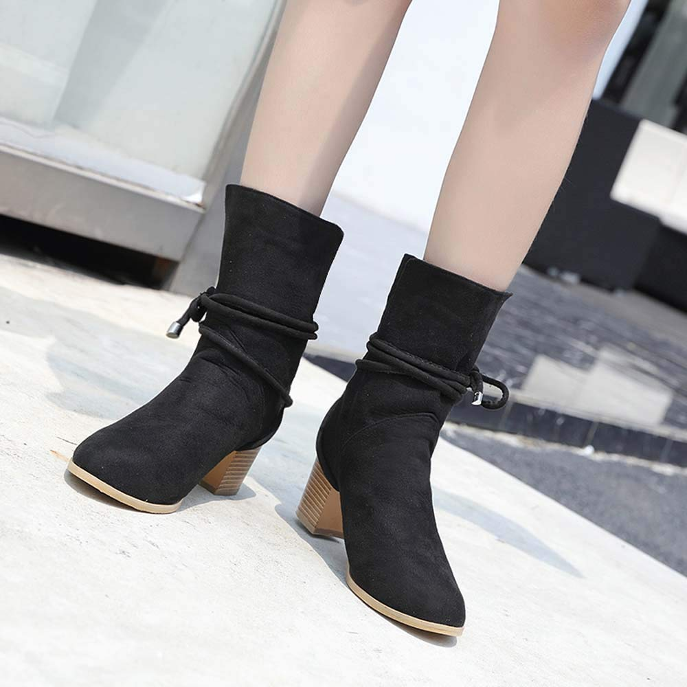Black,8 Creazrise Women Retro Chunky High Heel Ankle Boots Pointed Toe Booties Pull On Bootie with Lace-Up