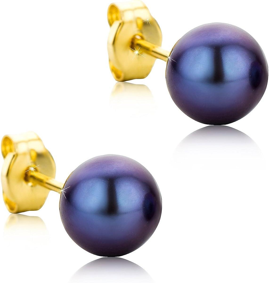 Orovi pendientes de mujer presión Perlas azules 6-6.5 de aguadulce en oro amarillo 9 kilates ley 375