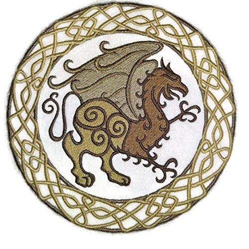 Custom Legendary Mythical Unique Dragon [ Celtic Gryphon Circle] Embroidery Iron On/Sew Patch [6.87