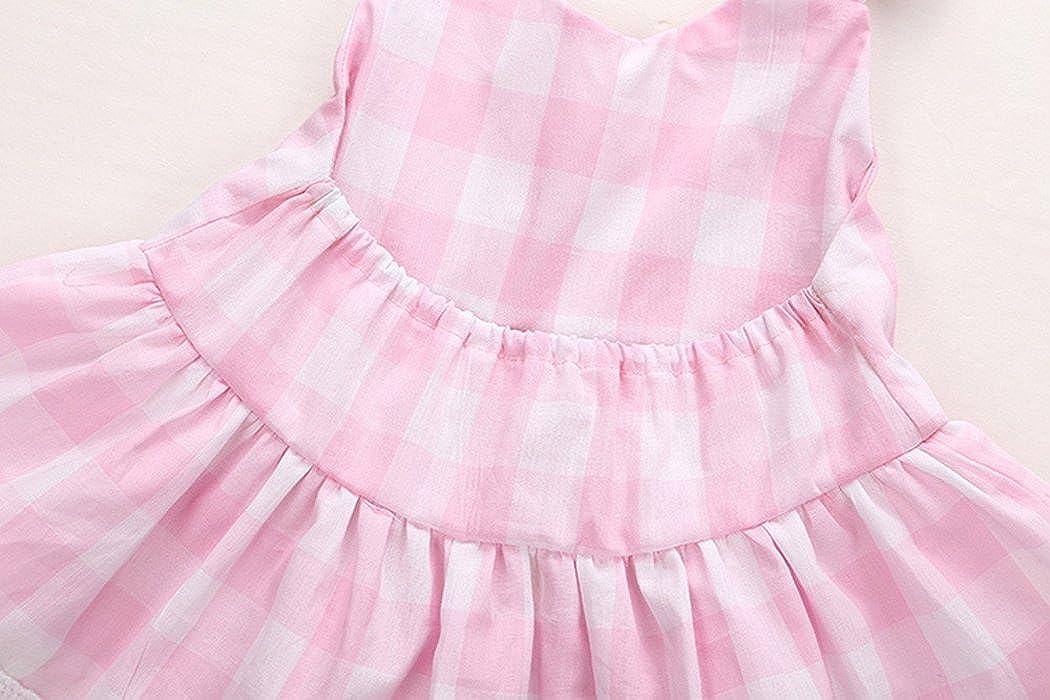 XWB Newborn Infant Toddler Baby Girls Princess Bowknot Lace Dress Shorts Outfits Set Summer Plaid Beach Dress
