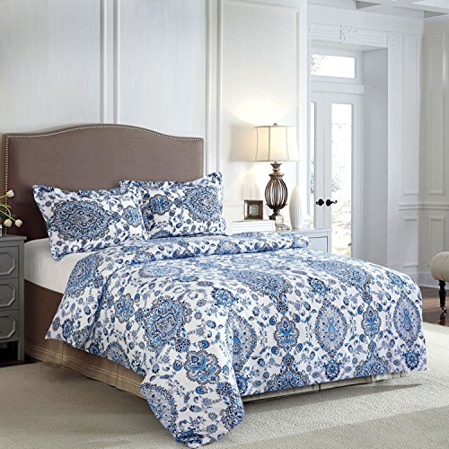 blue and white queen quilt - 5