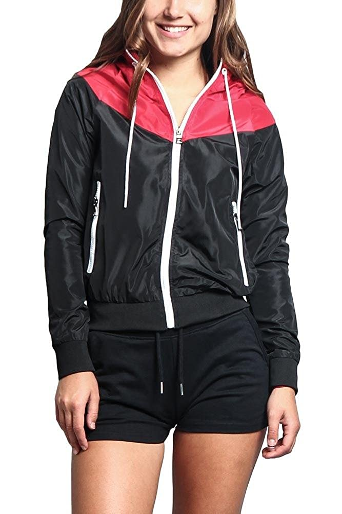 G-Style USA Riflessi Women's Color Block Hooded Windbreaker Jacket