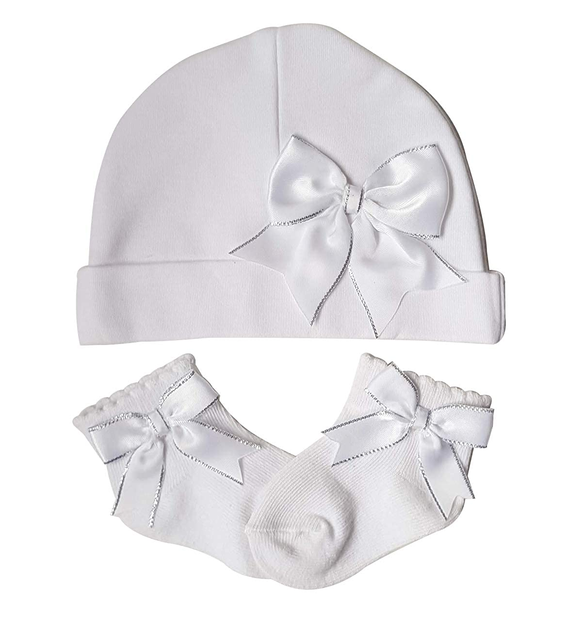 Soft Touch Baby Girl Bow Cotton Hat and Sock Gift Set Pink White 0-6 Months (3-6 Months, White)
