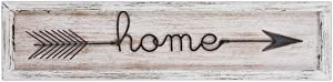 MACVAD Large Metal and Wood Home Sign with Arrow for Kitchen,Living Room,Vintage Farmhouse Wall Decor Wall Art,Decorative Hanging Sign Gift for Family,Distressed White 6.5