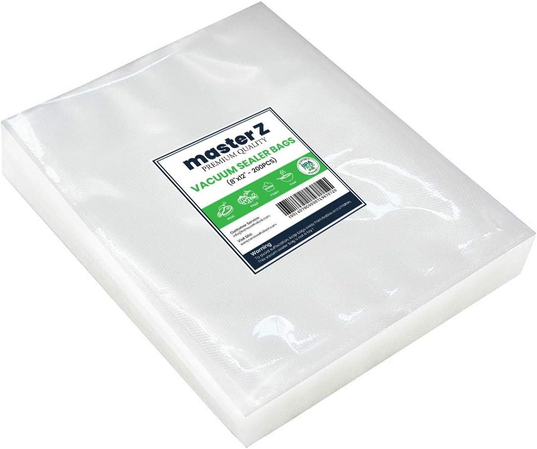 "100 Quart Vacuum Sealer Storage Bags Size 8 x 12 Inch for Food Saver Commercial Grade Food Sealer Bags, Sous Vide Vacuum Safe Universal Pre-Cut Bag (8"" x 12"" Quart Size(100-Count))"