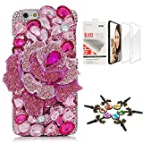 STENES Bling Case Compatible with iPhone 7 Plus/iPhone 8 Plus - Stylish - 3D Handmade [Sparkle Series] Big Rose Flowers Design Cover with Screen Protector [2 Pack] - Pink