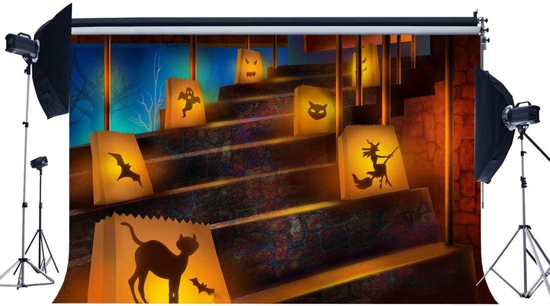 EdCott Fondo Halloween 5X3FT Vinilo Todos los Santos Día Telones Fondo Castillo Encantado Escalera Fantasma Mago Spooky Hallowmas Fotografía Fondo para Masquerade Party Photo Props Estudio YX1002: Amazon.es: Electrónica