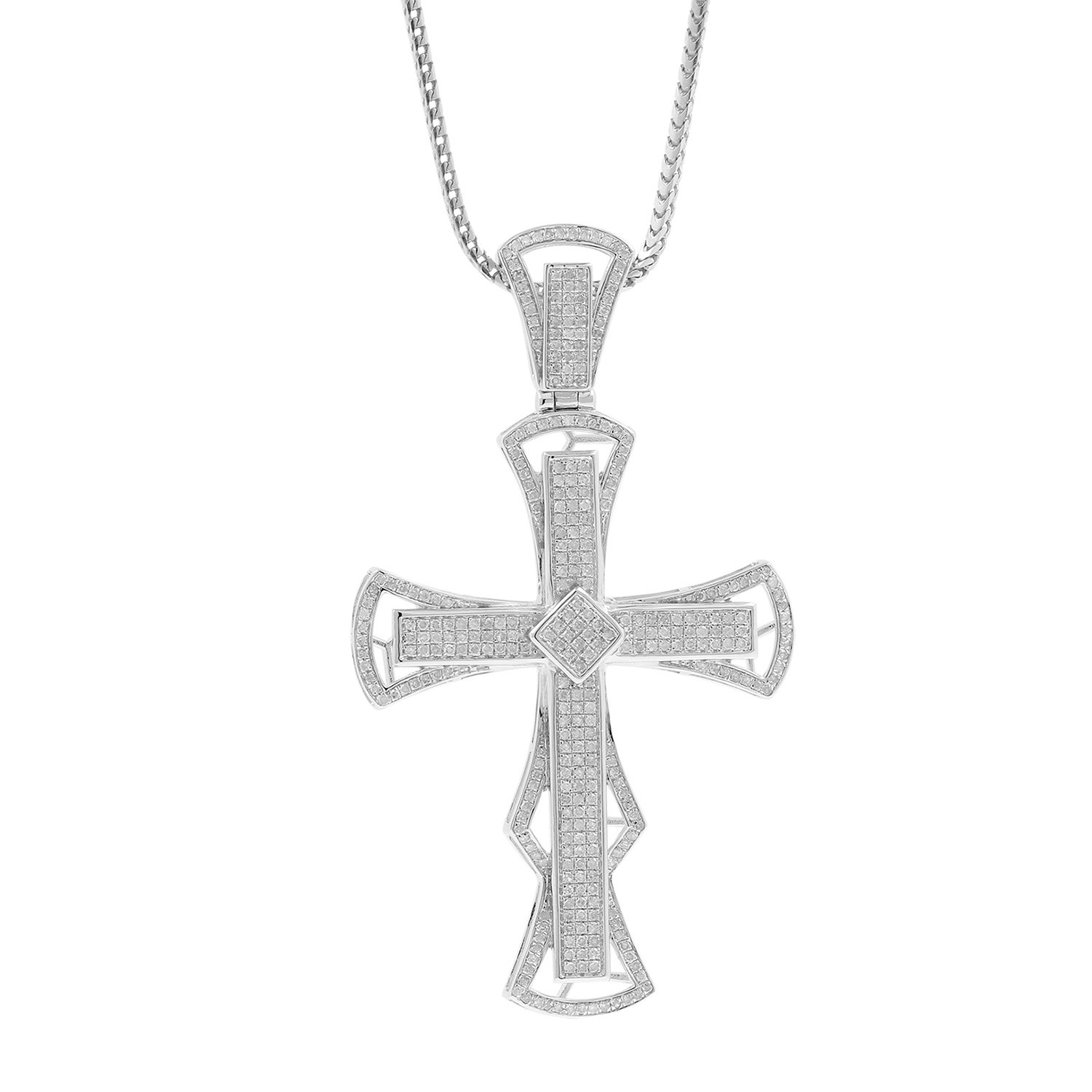 1.33ct Diamond Cross Religious Mens Hip Hop Pendant Necklace in 925 Silver