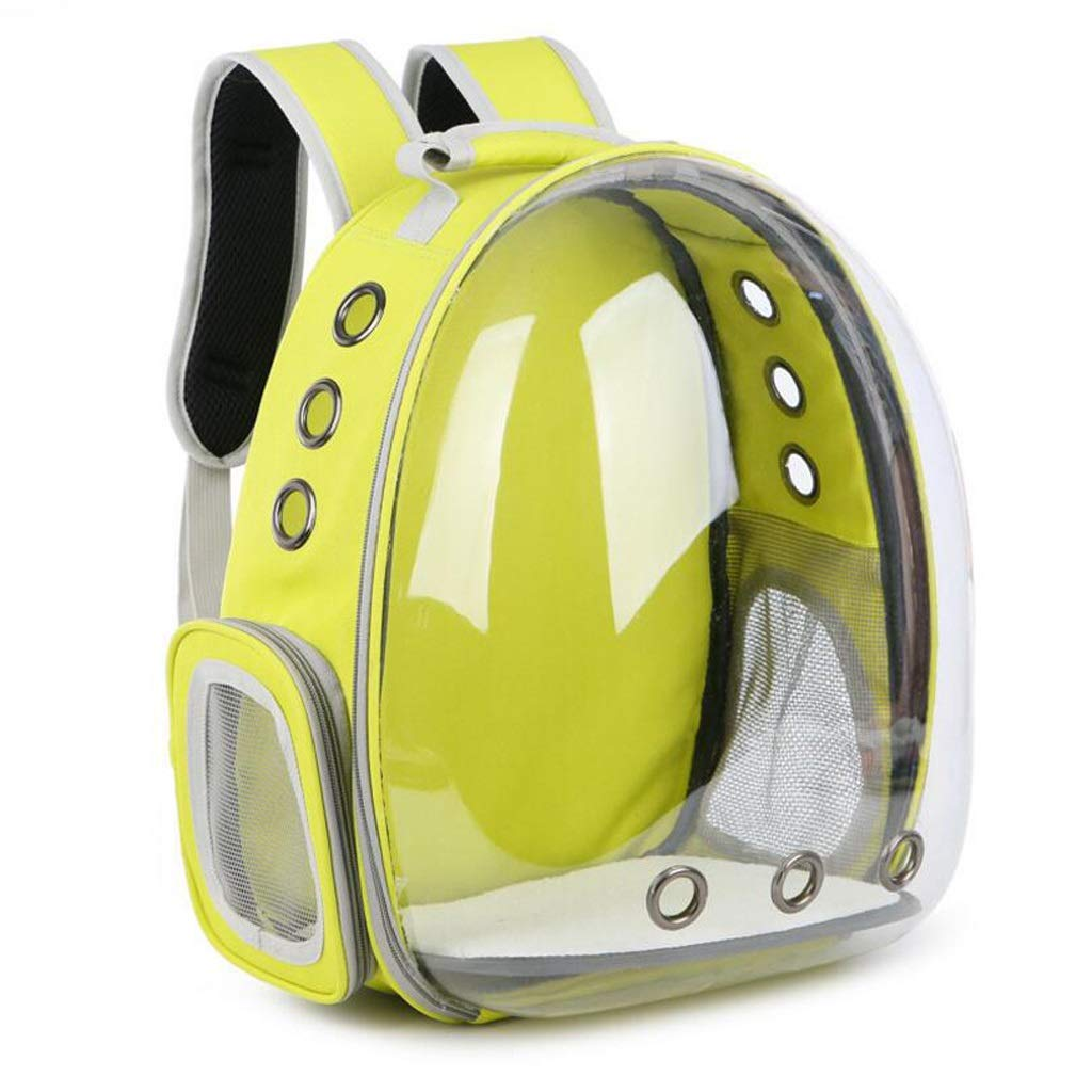 Yellow Onesize Yellow Onesize ZJEXJJ Transparent space pet backpack dog cat portable backpack travel bag pet supplies (color   Yellow, Size   Onesize)