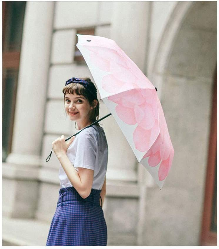 HongTeng Small Daisy Super Sunscreen Folding Umbrella Dual-use Female Lightweight and Convenient Sun Umbrella Multi-Color Optional Color : Pink