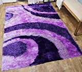 Cheap Shimmer Shaggy Shag Modern Decorative Designer 3D Contemporary Soft Plush High Pile Living Room Bedroom Soft Area Rug Carpet 8×10 Purple Two Tone Color Sale Cheap Discount (Signature BLD 289 Purple)