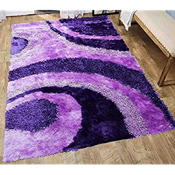 Amazon Com Dark Purple Light Purple Shaggy Shag Area Rug