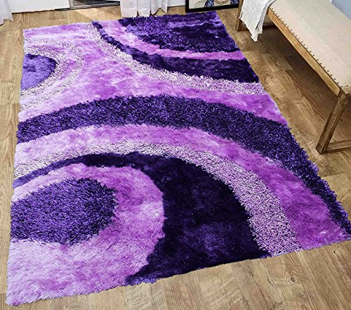 Shimmer Shaggy Shag Modern Decorative Designer 3D Contemporary Soft Plush High Pile Living Room Bedroom Soft Area Rug Carpet 8x10 Purple Two Tone Color Sale Cheap Discount (Signature BLD 289 Purple)