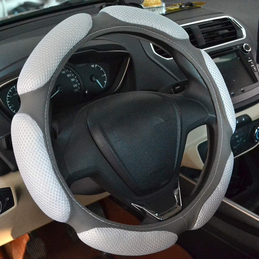 Younglingn Auto Pads Steering Wheel Cover Match with Anti-Slip Hand Pad Cushion Protector Massage Relax High Grip Feeling Fit 15 Inch for Most Car Red