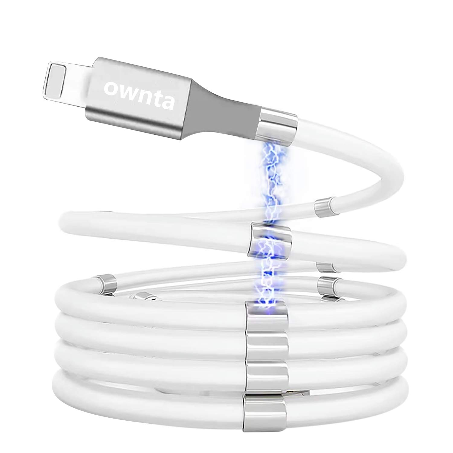 Magic Cable, ownta Magnetic Charging Cable, Lighting Charging Wire Redesigned Absorption Nano Data Cables Compatible with iPhone/Samsung/iPad Mobile Phones 3