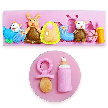 2pcs Molde Silicona de Fondant Moldes para Tarta azúcar estirado mazapán chocolate arte arcilla jabón Diseño con Forma chupete bebé Feliz animales 3D: ...