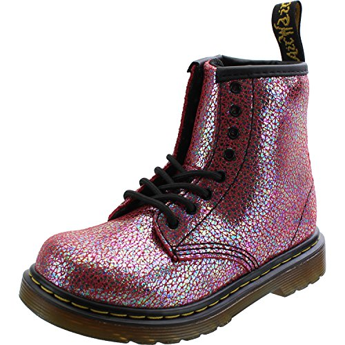 Dr. Martens Kid's Brooklee IE Lace Fashion Boots, Pink Leather, 7 Toddler M UK, 8 (Doc Martens Kids Boots)