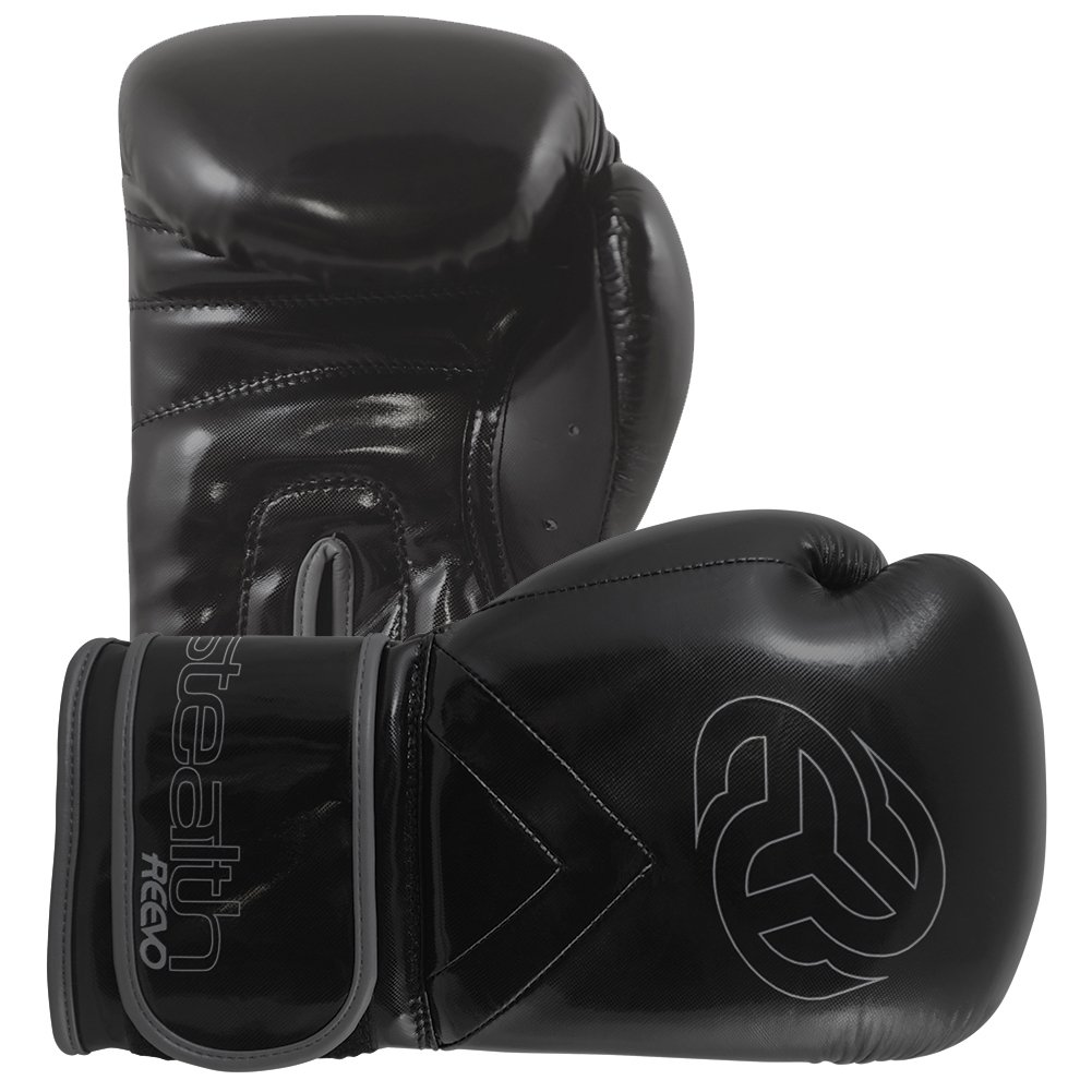 Reevo Stealth Youth Boxing Training Gloves for Kickboxing Muay Thai MMA (Black, 6oz)