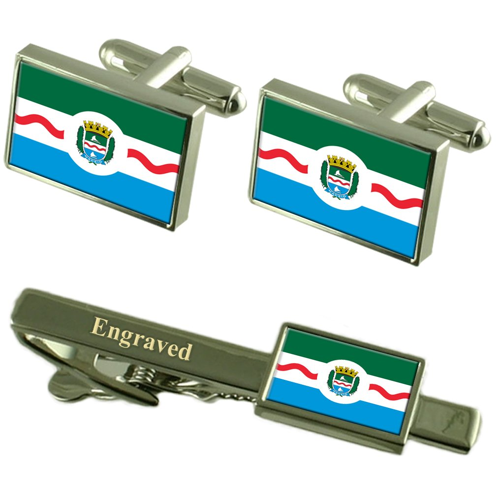 Maceio City Brazil Flag Cufflinks Engraved Tie Clip Set
