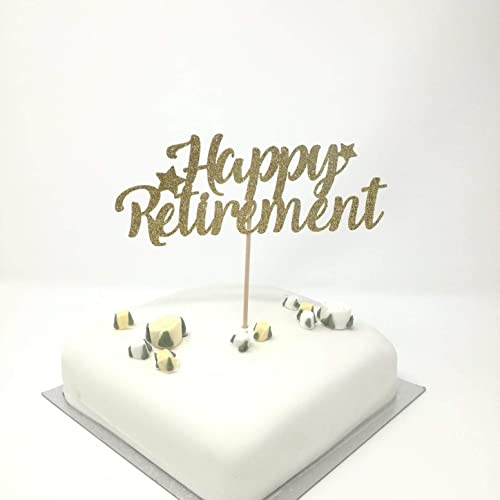 Happy Retirement Cake Topper Gold Glitter Retirement Party